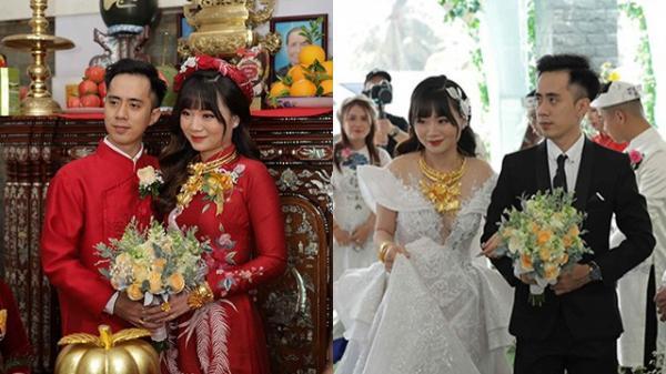 Cô dâu đeo vàng kín hai tay, nhìn bông hoa trên cổ mà ai cũng choáng ngợp