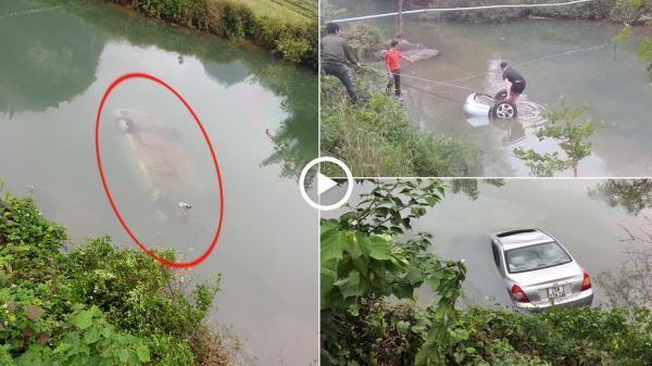 Ô tô chìm nghỉm dưới sông, nữ tài xế t.ử v.o.n.g trên ghế lái