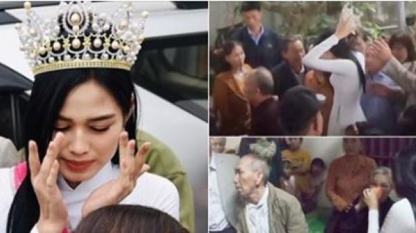 Hoa hậu Đỗ Thị Hà về đến nhà là vào chăm bà ngay