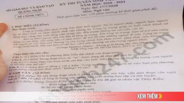 Đề thi Ngữ văn tuyển sinh lớp 10 vào THPT tỉnh Quảng Ngãi năm 2020