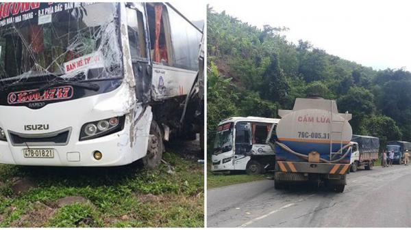 VỪA SÁNG NAY: Xe khách BKS Đắk Lắk, xe bồn và xe tải tông nhau liên hoàn, 1 người bị thương