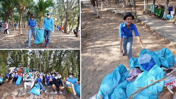 Hoa hậu quê Đắk Lắk - H'Hen Niê nhặt rác cùng thanh niên tại đảo Phú Quý