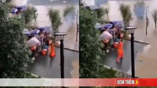 Đại sư Trung Quốc vận công 'đẩy lùi' nước lũ