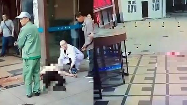 Giây phút người phụ nữ nh ảy lầu t ự t ử vì chán sống rơi trúng thanh niên đứng dưới sảnh bệnh viện