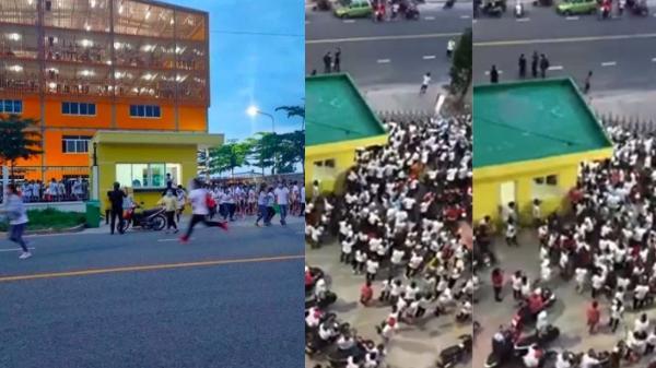 Clip: Hàng trăm công nhân xô đổ rào chắn, tháo chạy khỏi công ty ở Bình Dương khi nghe tin 1 đồng nghiệp dương tính SARS-CoV-2