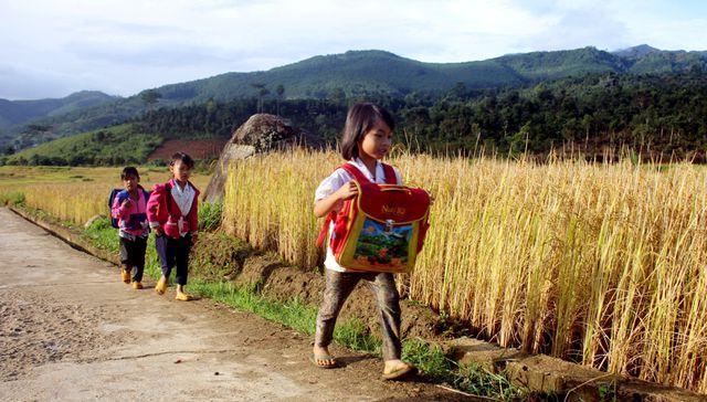 Các em học sinh trên đường từ nhà đến trường
