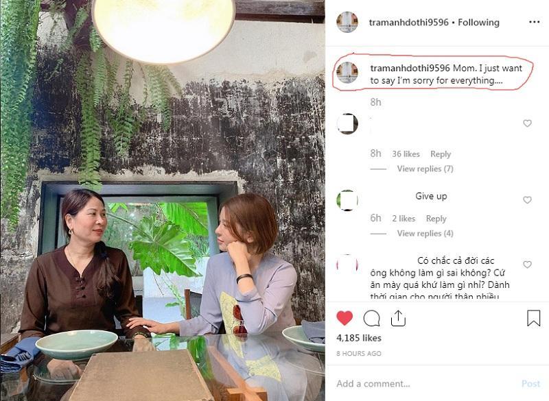 Trâm Anh đăng ảnh xin lỗi mẹ trên Instagram cá nhân